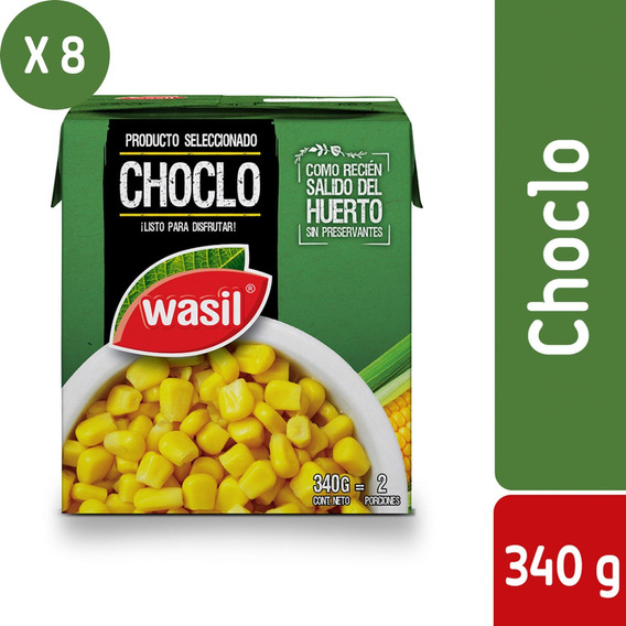 Pack 8 - Wasil Caja De Choclo Dulce Listo 340 G