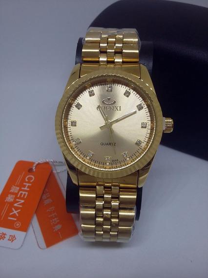 Relógio Feminino Original Dourado De Luxo Chenxi