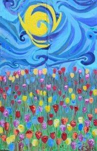 Tulipanes Y Rock  2015 Acrílico Sobre Madera 80 X 55