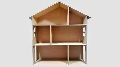 Casita De Muñecas Barbie Repisa + Muebles Madera Fibrofacil