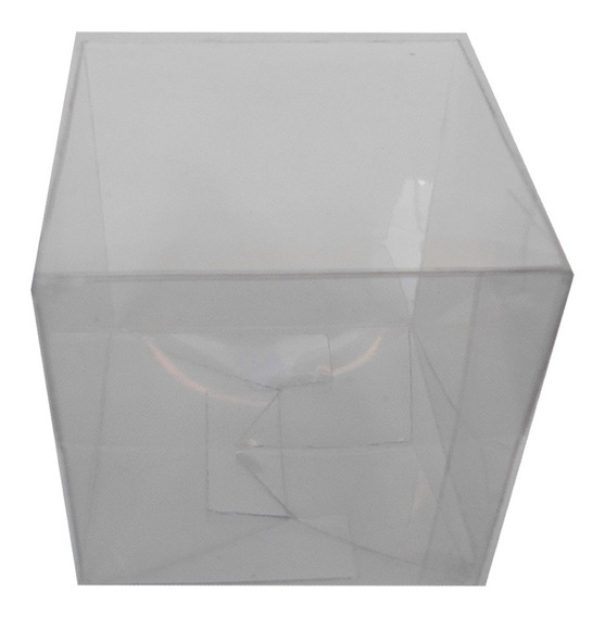 10 Cajas Cajitas Acetato Transparente Plastico Cubo 6cm