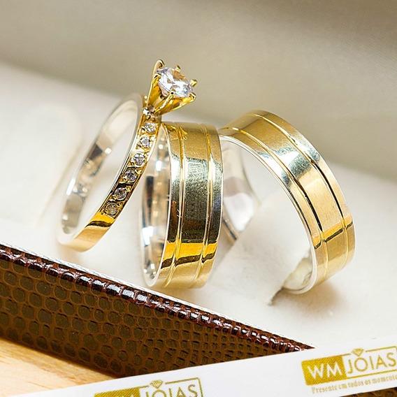 Aliança De Casamento Ouro E Prata + Anel Solitário Wm10203