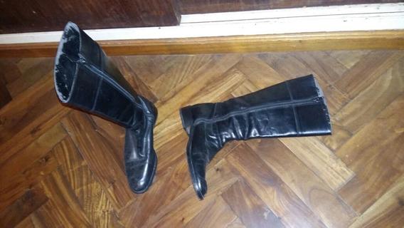 Botas De Mujer Caña Alta De Cuero Marca Clonar N35 Taco Bajo