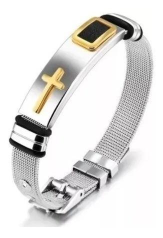 Pulseira Masculina Cruz Banhada Ouro 18k Bracelete Aço