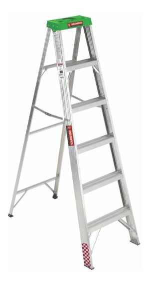 Escalera Tijera Aluminio 5 Peldaños + Tapa, 1.83m, T. I I I