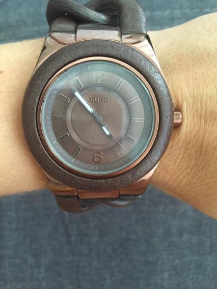 Relógio Euro Marrom E Rose