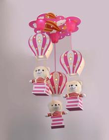 Lustre Infantil Pendente Ursos Balões Rosa Quarto De Menina