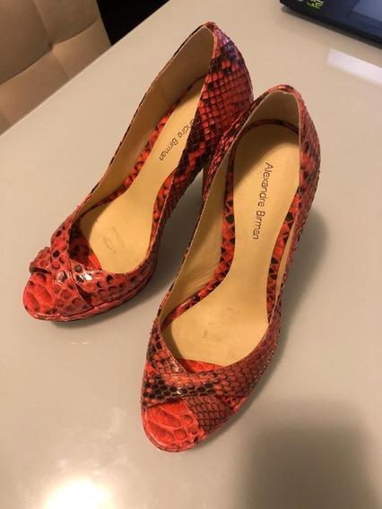 Sapato Alexandre Birman Coral Peep Toe Semi Novo