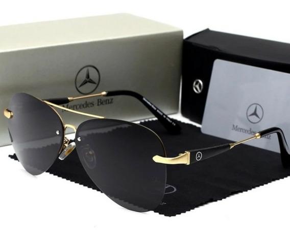 Óculos Mercedes Benz Aviador Light Golden - Mb743 65