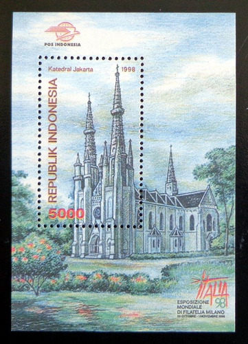 Indonesia, Bloque Sc. 1805a Catedral Jakarta 1998 Mint L8637