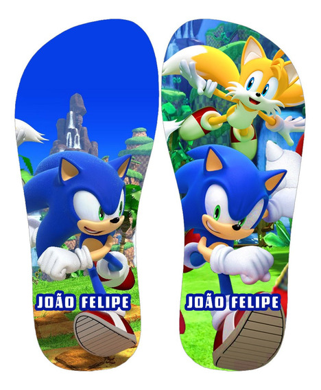 Chinelos Infantil Personalizados Sonic