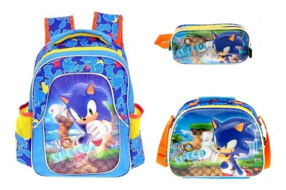 Kit Mochila Lonchera Y Lapicera Sonic Kinder Backpack Mm54