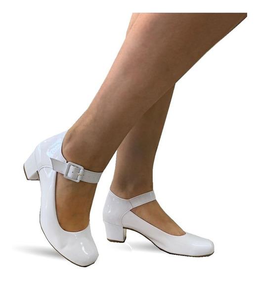 Sapato Boneca Branco Enfermagem Noiva Salto Baixo Grosso