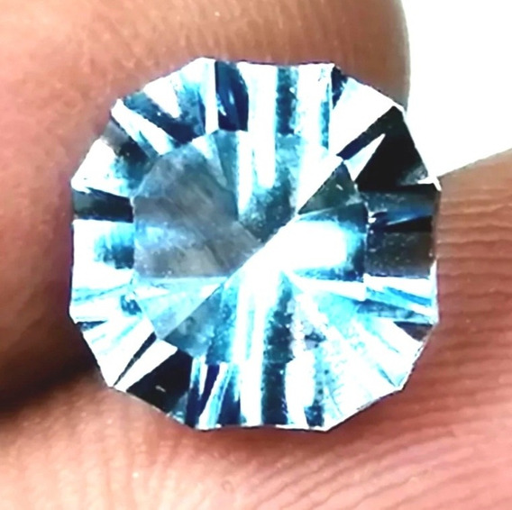 4.2ct Piedra 100% Natural Topacio Azul Brillante Anillo