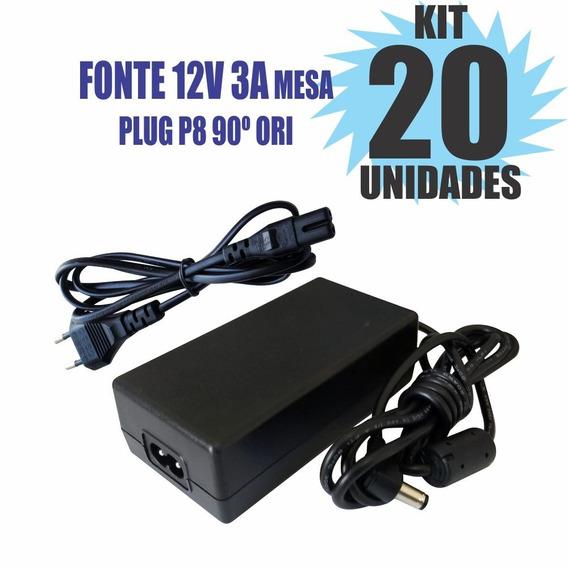 Kit 20 Peças Fonte Chaveada 12v 3a Plug P8 90º