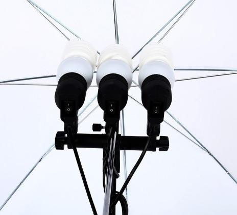 Kit Soquete Triplo E27 Para Iluminação Com Somb. Difusora