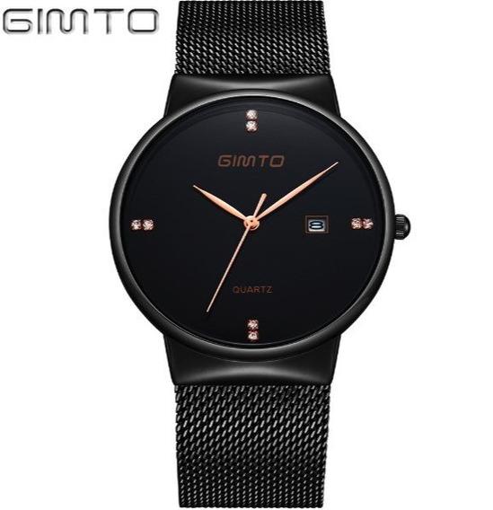 Executivo! Relógio Masculino Gimto Aço Preto Quartzo + Caixa