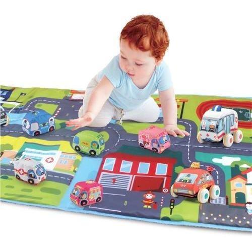 Alfombra Antigolpes Pista De Autos Con 10 Autitos Zippy Toys