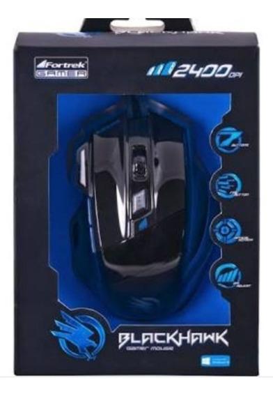 Mouse Black Hawk 2400 Dpi,cor Preta Com Azul.