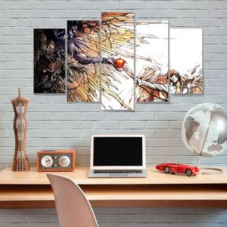 Quadro Mosaico 5 Peças Mdf 6mm Death Note Light E Ryuk