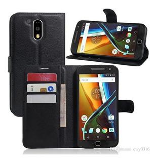 Capa Case Carteira Flip Motorola Moto G4/g4 Plus Preto