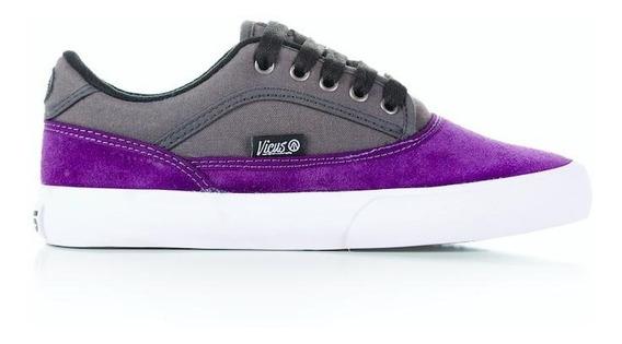 Zapatillas Vicus Genesis Cuero Gamuza Violeta Gris