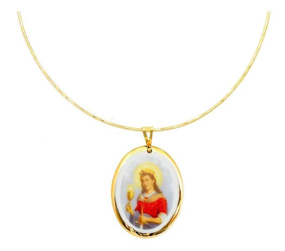 Gargantilha Choker E Pingente Fé Medalha Santa Bárbara Ouro
