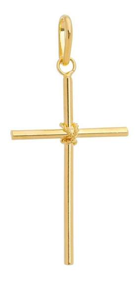 Pingente Masculino Cruz Crucifixo Banhado A Ouro 18k