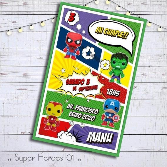 Invitacion Digital Cumple Funko Pop Avengers Vengadores