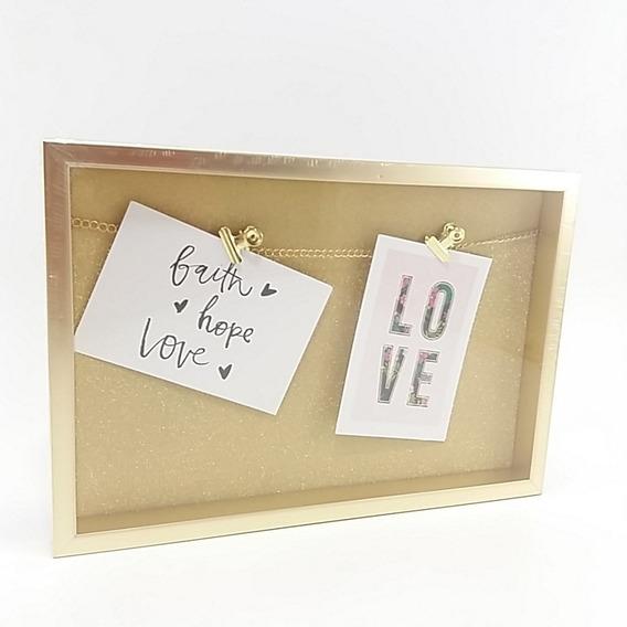 Quadro Decorativo Dourado Para Fotos E Lembranças