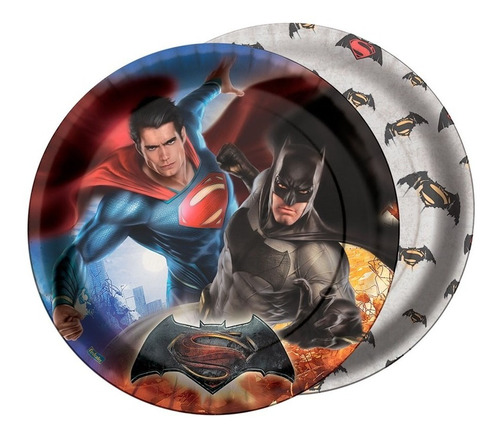 Prato Para Aniversário Batman Vs Superman 16 Unidades
