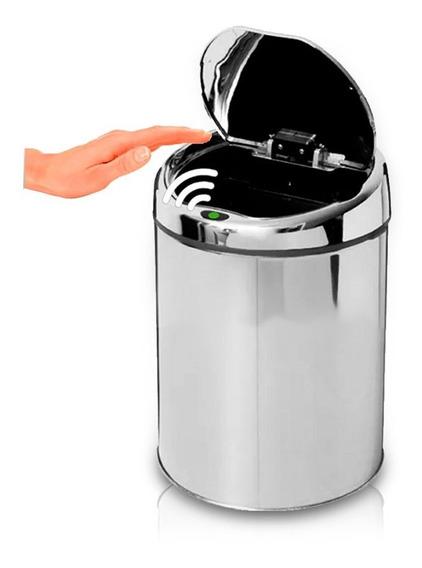 Lixeira Automática Por Sensor De Abertura 3 Litros Aço Inox