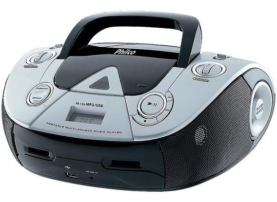 Som Portátil Philco Pb126 Rádio Fm Mp3 Usb Cd Player Boombox