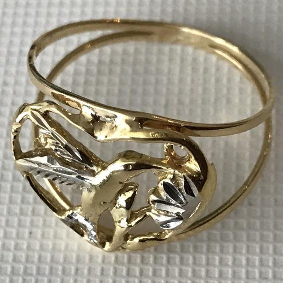 Anel Em Ouro 18k-amarelo E Branco, Peso: 2.1 Gramas Aro 17