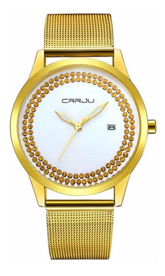 Reloj Crrju Para Mujer Análogo Fechador Extensible Metálico