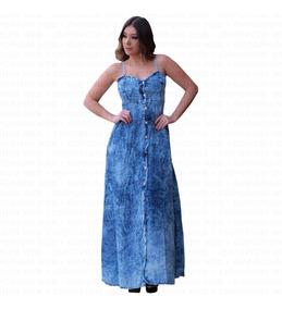 Vestido Feminino Jeans Longo Alcinha Tendência Moda Momento