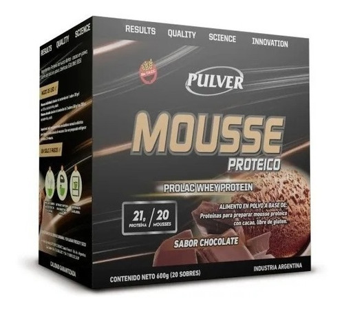 Mousse Proteico 600 Gr Pulver Wheyprotein Con Cacao Sin Tacc