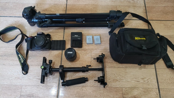 Nikon D5300 + Lente 18-55 + Tripé + Steadicam + 2 Baterias