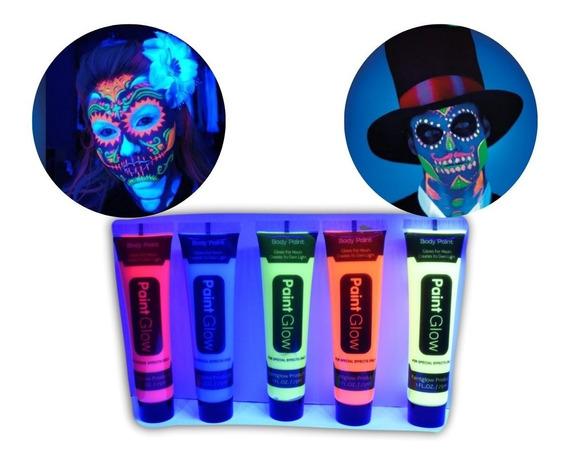6 Pintura Neon Luminos Glow Luz Negra Body Paint Cuerpo Cara
