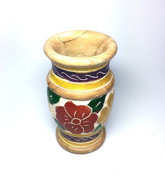 Mini Vaso De Pedra Sabão Decorado Pequeno Natural 8cm Promoção
