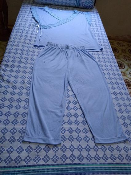 Conjunto De Pijama Com Detalhe De Renda