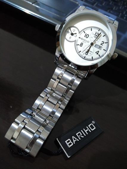 Relógio Pulso Masculino Prateado Inox Bariho H211 + Promoção