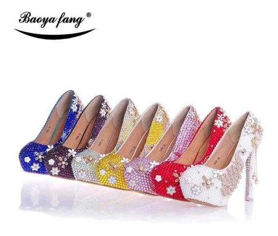 Sapato Debutante Madrinha De Casamento E Noiva Com Apliques