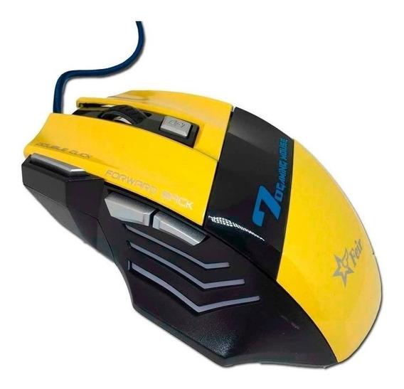 Mouse para jogo Feir FR-404 amarelo e preto