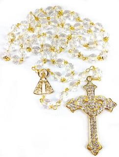 Terço Noiva Dourado Cristal Transparente Tcheco Cruz Coração