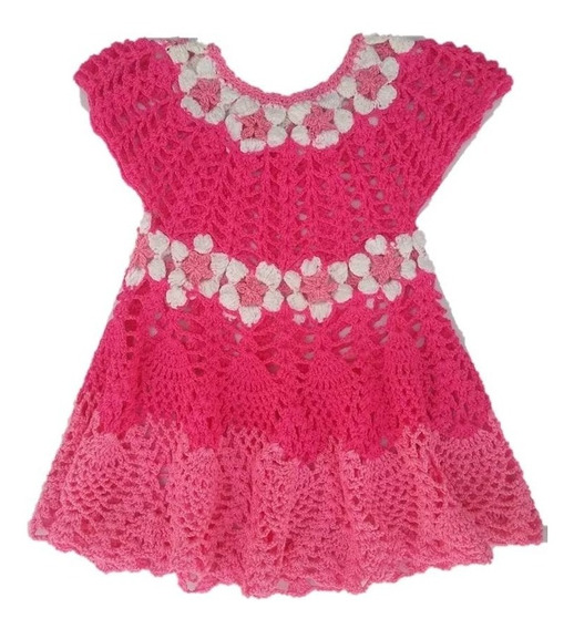 Vestido Artesanal Mexicano Para Niña, Tejido A Mano Crochet