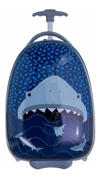 Mala Viagem Escolar Infantil C/ Rodas Tubarão Abs Resistente