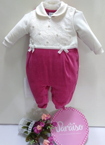 Macacão Longo Plush Paraiso Moda Bebe Menina Luxo Ref 8333
