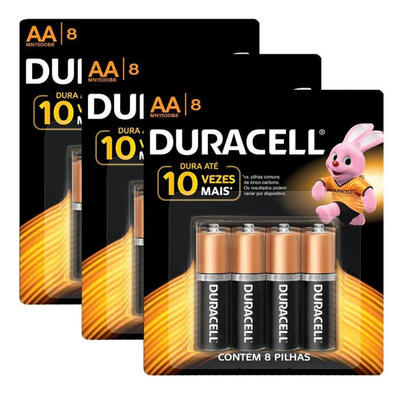 Kit Duracell Pilha Alcalina Aa 24