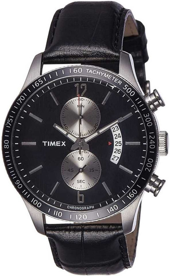 Reloj Timex E-class Cronómetro Negro Piel Envió Gratis